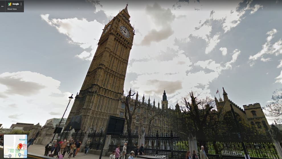 Big Ben visto a través de Google Street View