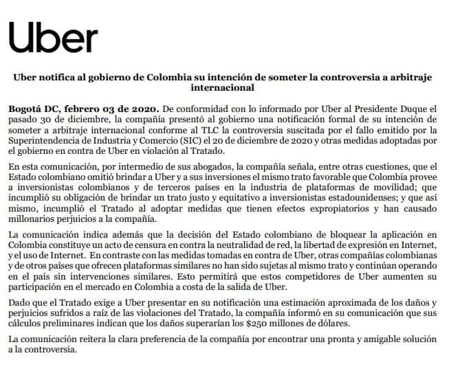 uber colombia